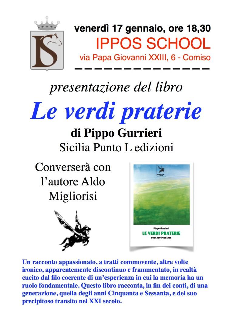 """Comiso - il 17 gennaio presentazione del libro """" le verdi praterie """" di pippo gurrieri"""
